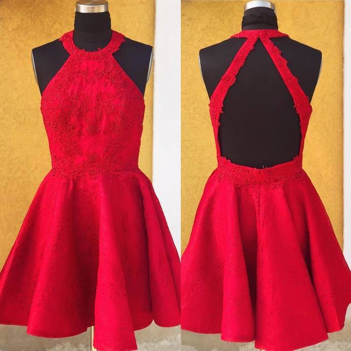 Princess Open Back Homecoming Dress, Red Appliques Homecoming Dresses, Short
