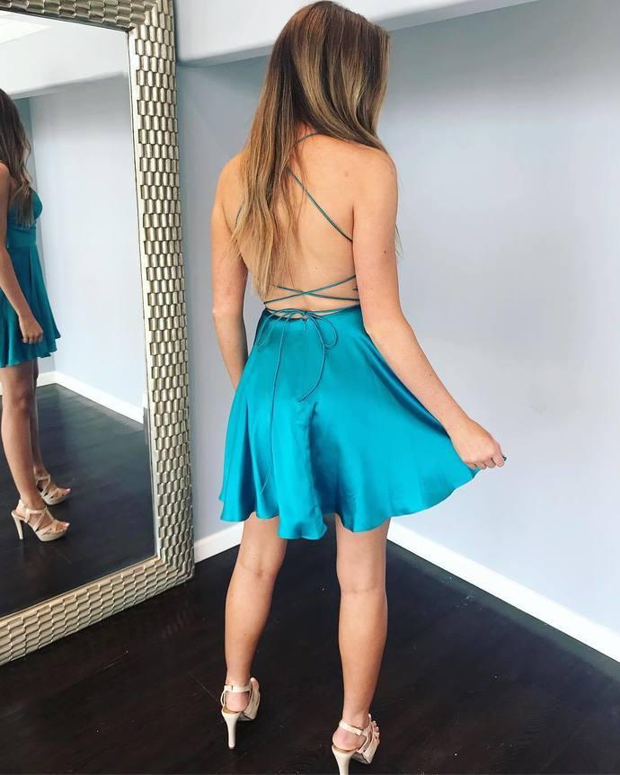 Backless Mini Prom Dress, Sexy Satin Party Dress