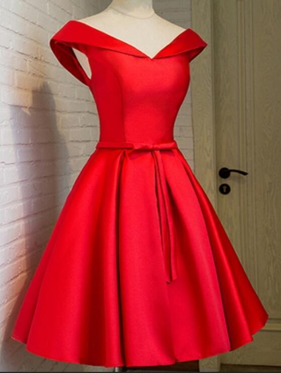 Off Shoulder Simple Homecoming Dress, Lovely Formal Dress, Satin Knee Length