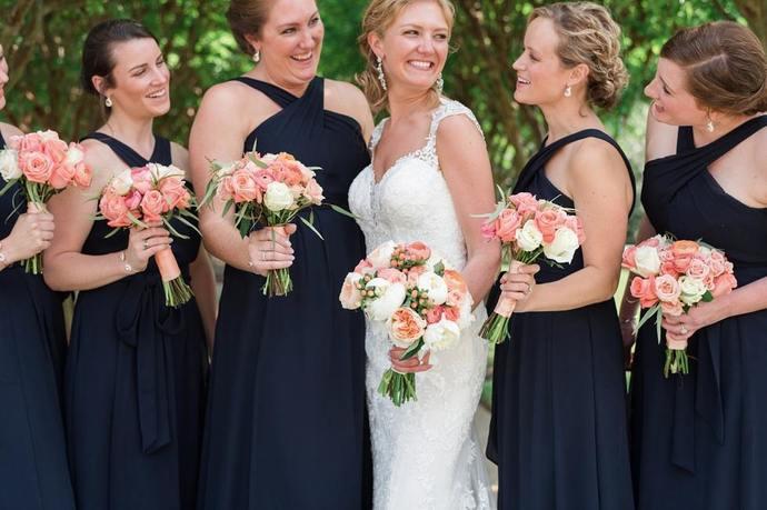 Charming Cross Neck Black Chiffon Long Bridesmaid Dresses