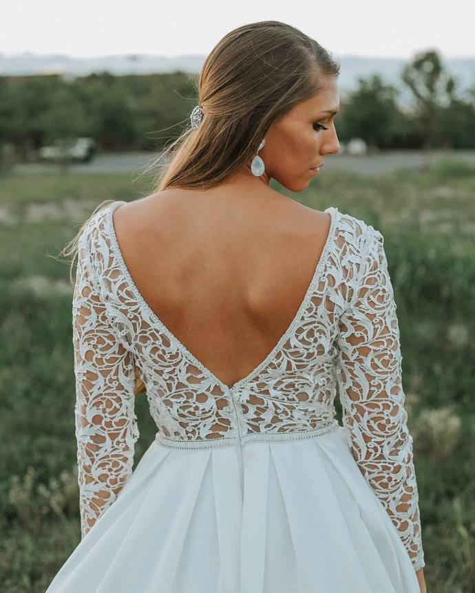 Long Sleeves White Long Wedding Dress