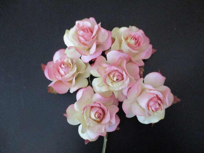 6 x Strong Mulberry Paper Roses