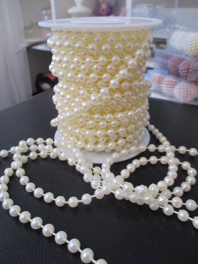 1yd Luxury 6mm Wedding Beaded Pearl String