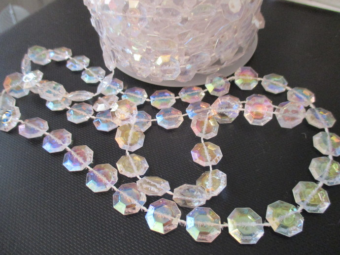 1yd x 12mm wide Iridescent Beaded Trim