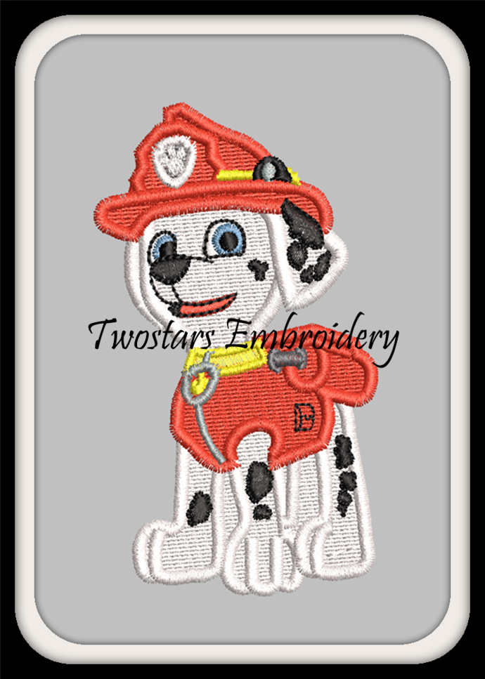 Firehouse dog 4x4 fill stitch embroidery.