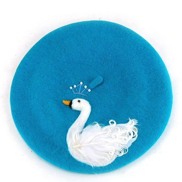Needle Felted French Beret Hat:  White Swan
