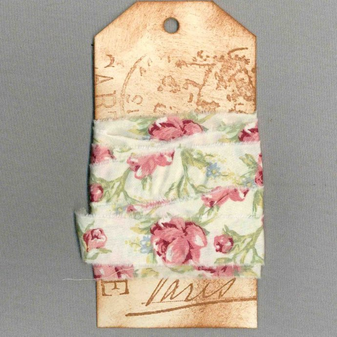 4 yards French chic Paris tag rose pink ribbon handmade french market trim seam