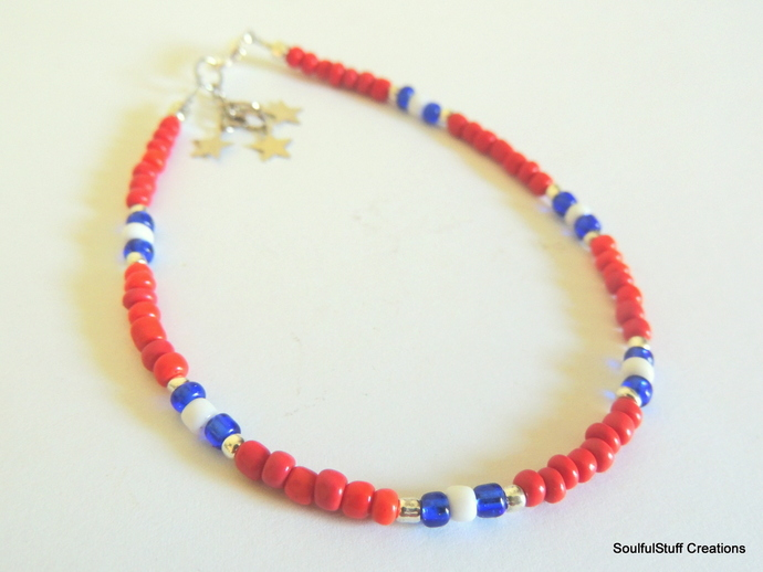 Stars and Stripes Seed Bead Ankle Bracelet, Red White and Blue Anklet,  Boho