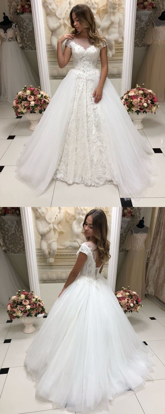 Elegant White Long Wedding Dress with Appliques, Sexy Tulle Wedding Gown