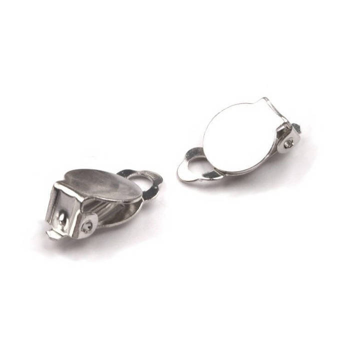 4 pairs of clips holder Silver earrings round 10 mm
