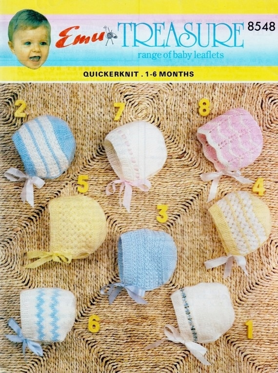 Instant PDF Digital Download Vintage Row by Row Knitting Pattern Emu 8548 Baby