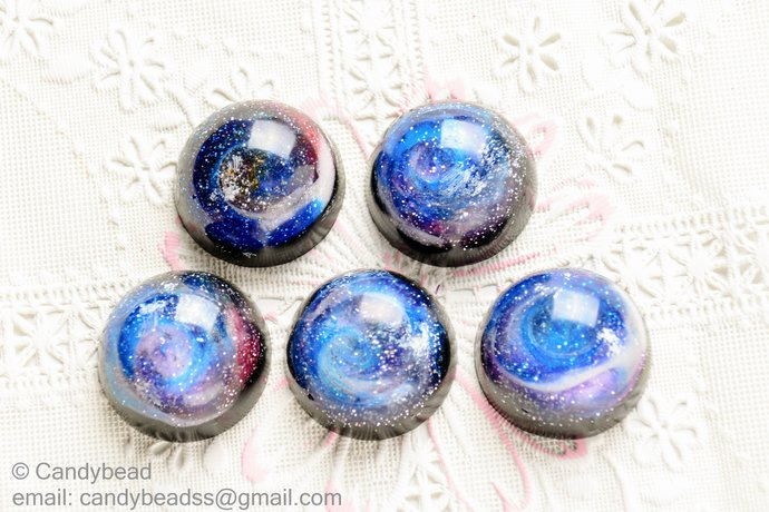 5x Galaxy and space resin cabochon for crafts or personalised jewelry and