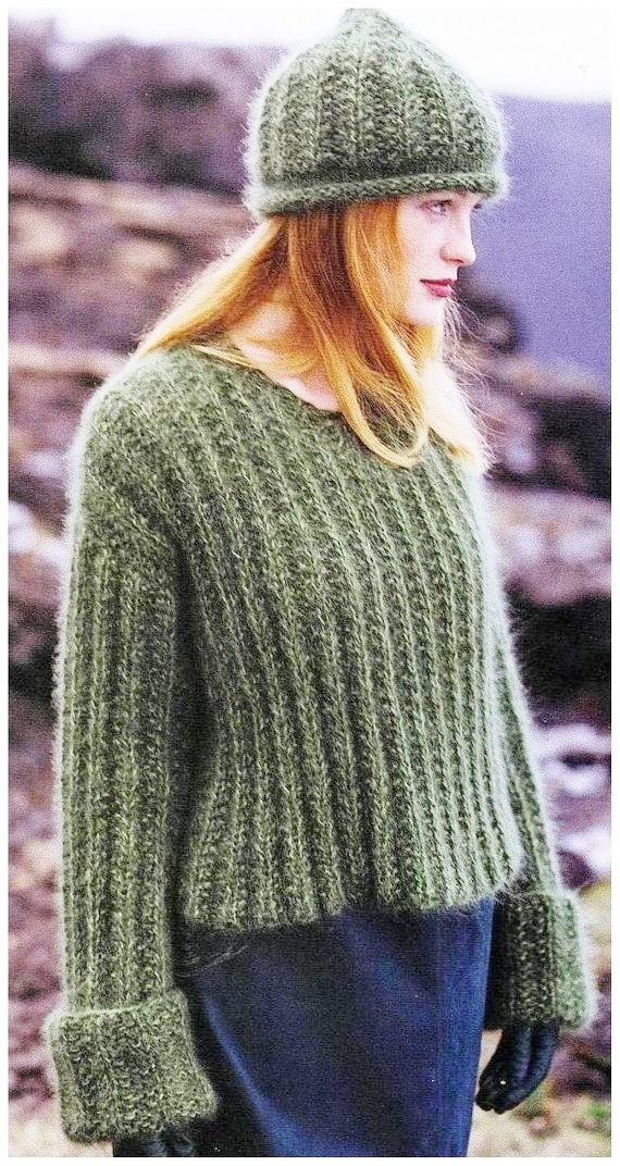 a79f98c98fb2 Instant Download PDF Vintage Row by Row Knitting Pattern to make a Ladies  Big