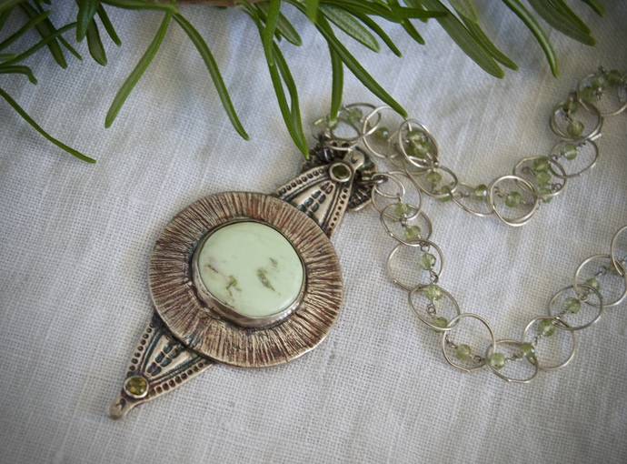 Variscite necklace, OOAK necklace, circle of life, shield pendant, totem