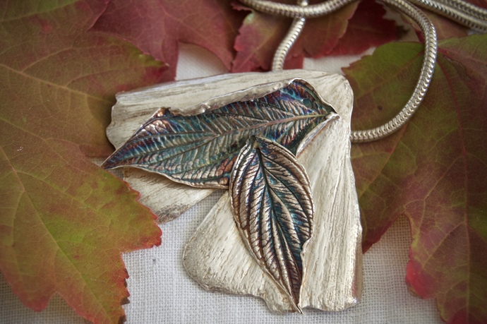 large ginkgo leaf pendant, silver necklace, silver ginkgo, silver leaf necklace,