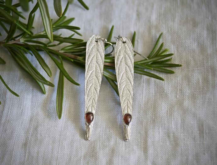 garnet earrings, January birthstone, sage leaf earrings, January birthday, gift