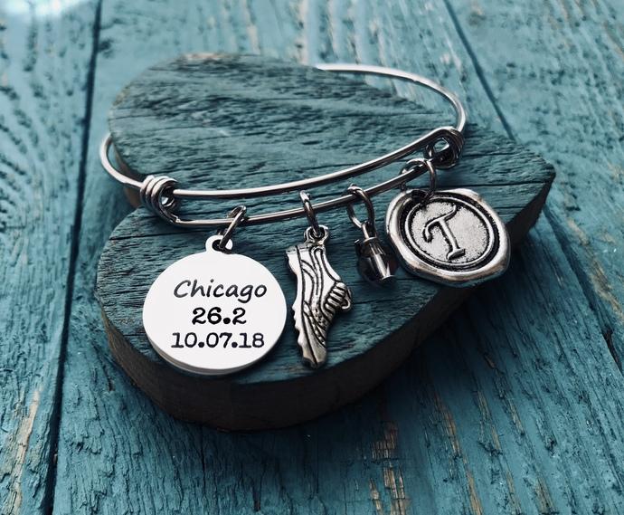 Chicago 26.2, Date, Chicago Marathon, Runner's, Running bracelet, Marathon