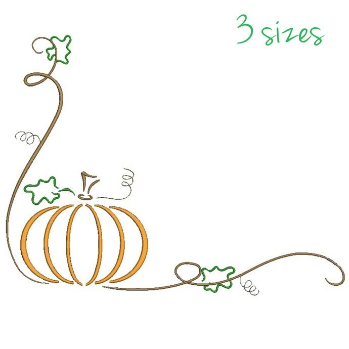 Pumpkin corner embroidery machine designs Halloween Thanksgiving instant digital