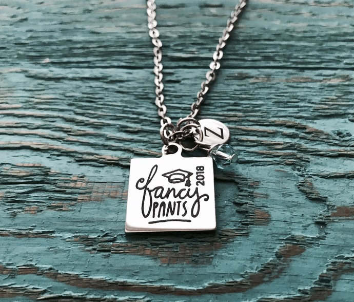 3494cc4cb7908 Class of 2018, Graduation, Grad, Graduate, Gifts for, Gift, High School  Name, College Name, Silver Necklace, Charm Necklace, Gift