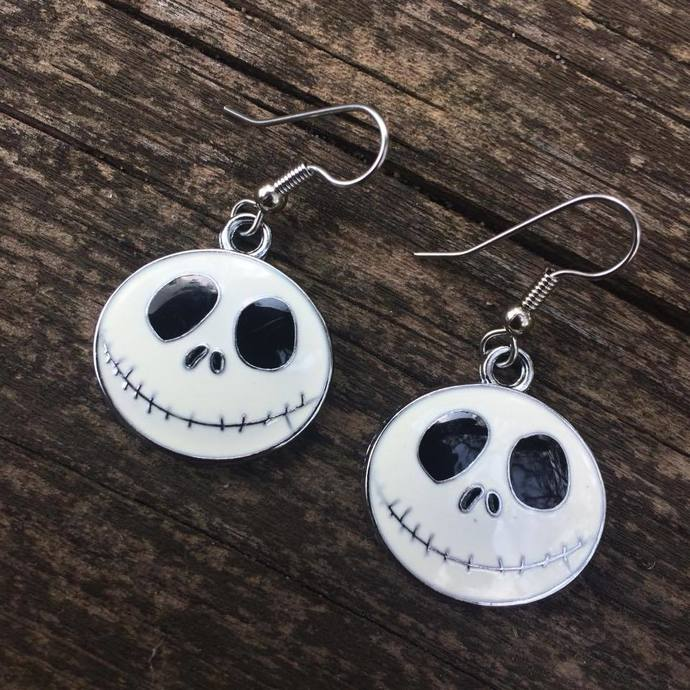 """Jack Skellington"" Heads Earrings, Hypoallergenic"