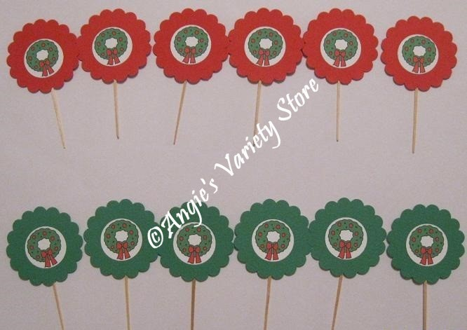 Christmas Wreath Cupcake Toppers Set of 12
