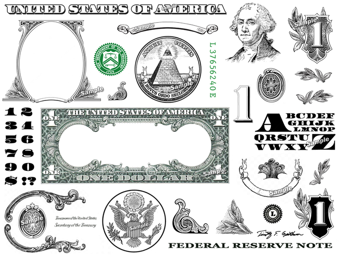 One Dollar Bill Design Images Photoshop Transparent File PNG Graphics Vignette