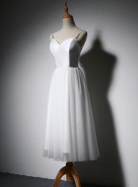 White Simple Tea Length Vintage Wedding Dress, Evening Party Dress 2019
