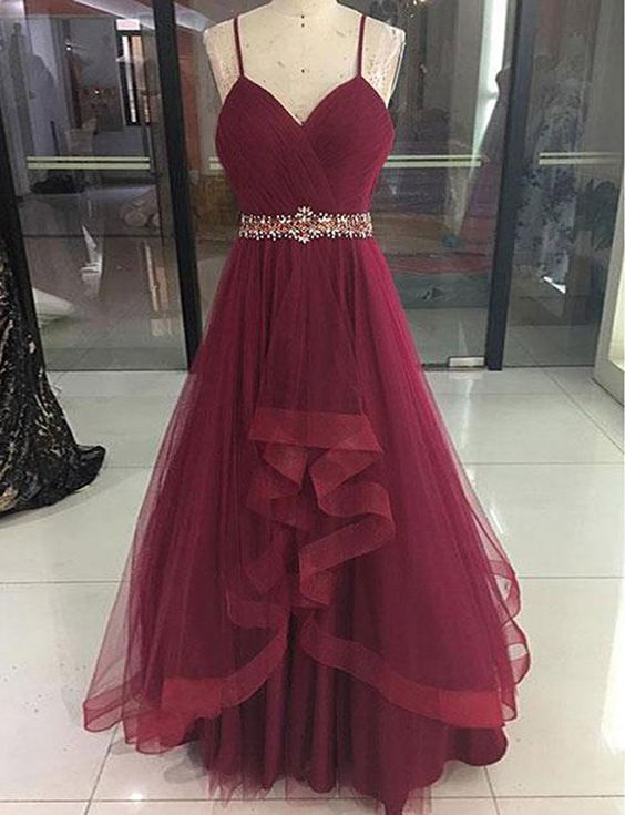 Wine Red High Low Party Dress 2019, Cute Straps Junior Prom Dress 2019