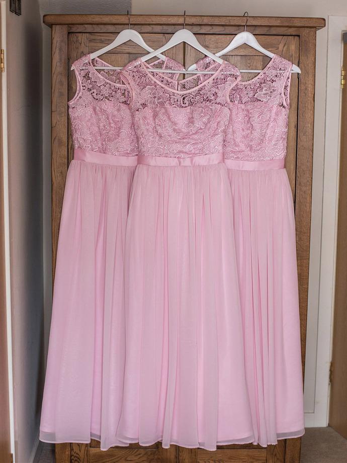 Pink Chiffon and Lace Simple Bridesmaid Dresses, Pink Long Bridesmaid Dress