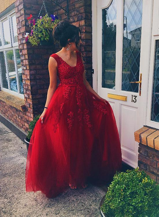 Wine Red V-neckline Tulle and Applique Long Party Dress, Tulle Formal Dress