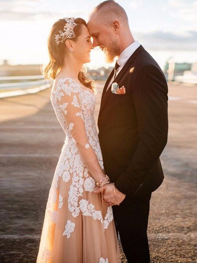 See Through Long Sleeve Lace Applique Champagne Wedding Dresses