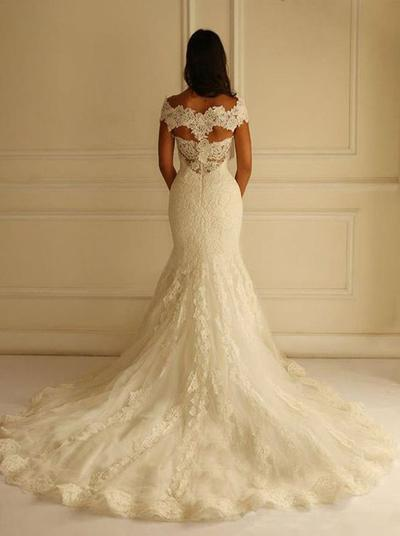Off the Shoulder Long Lace Wedding Dresses Vintage Mermaid Ivory Bridal Gowns