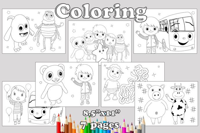 Little Baby Bum Birthday Party favor, Little Baby Bum coloring pages, Little