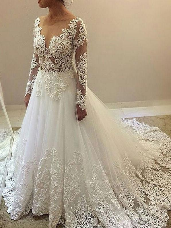 Cheap See Through Lace Beaded Wedding Dresses with Long Sleeves