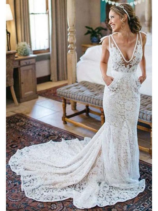 Sexy Mermaid Lace Wedding Dresses See Through Backless widding Dress with Pocket