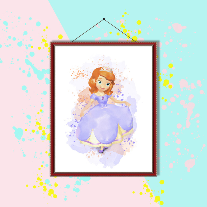 Sofia the first princess watercolor, Sofia the first princess print, Sofia the