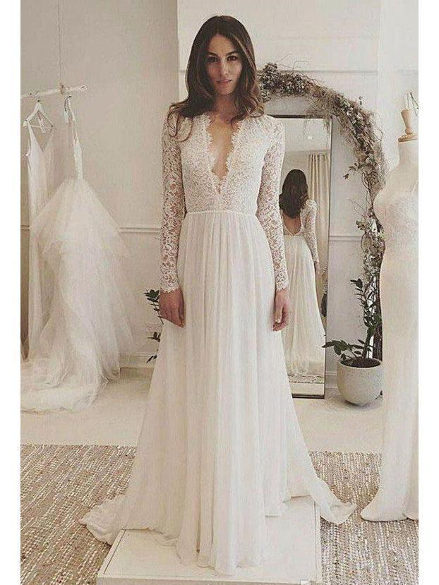 Long Sleeve Lace Top Beach Wedding Dresses V Neck Dress