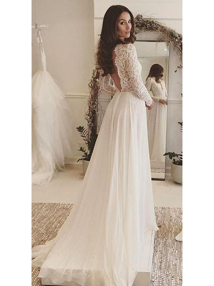 Long Sleeve Lace Top Beach Wedding Dresses V Neck Chiffon Wedding Dress