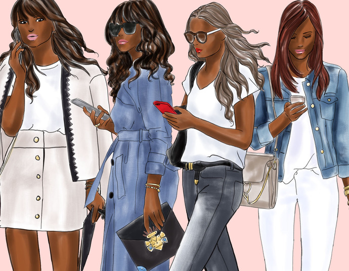 Watercolor fashion illustration clipart - Girls with Phones 2 - Dark Skin