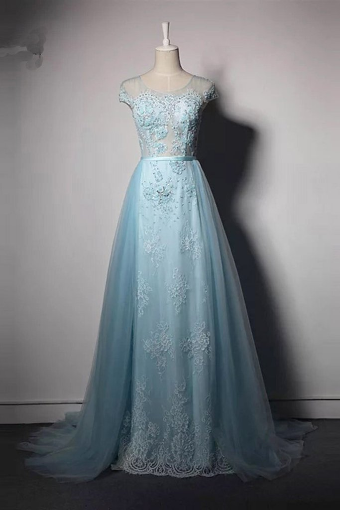 Sky Blue Tulle Long Cap Sleeve Evening Dress By Prom Dresses On Zibbet