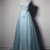 Sky blue tulle long cap sleeve evening dress with removable skirt, long tulle