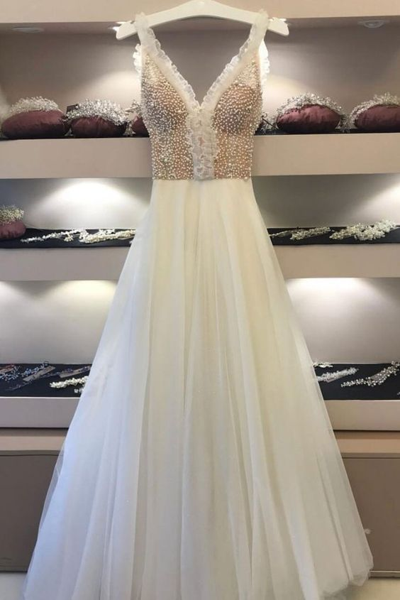 A-LINE STRAPS IVORY PROM DRESS, UNIQUE BEADING PROM DRESSES, LONG EVENING DRESS