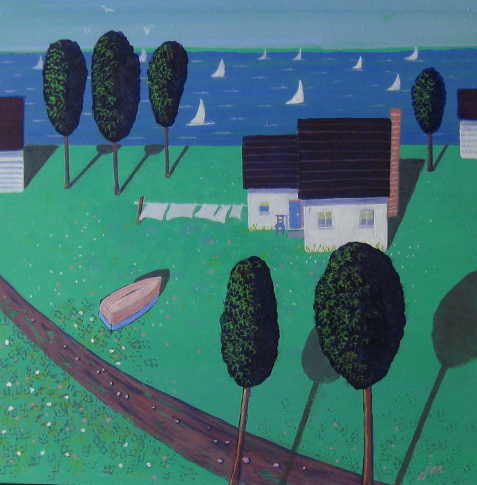 The Cottage Life - 12x12 acrylic on board framed in painted white wood.