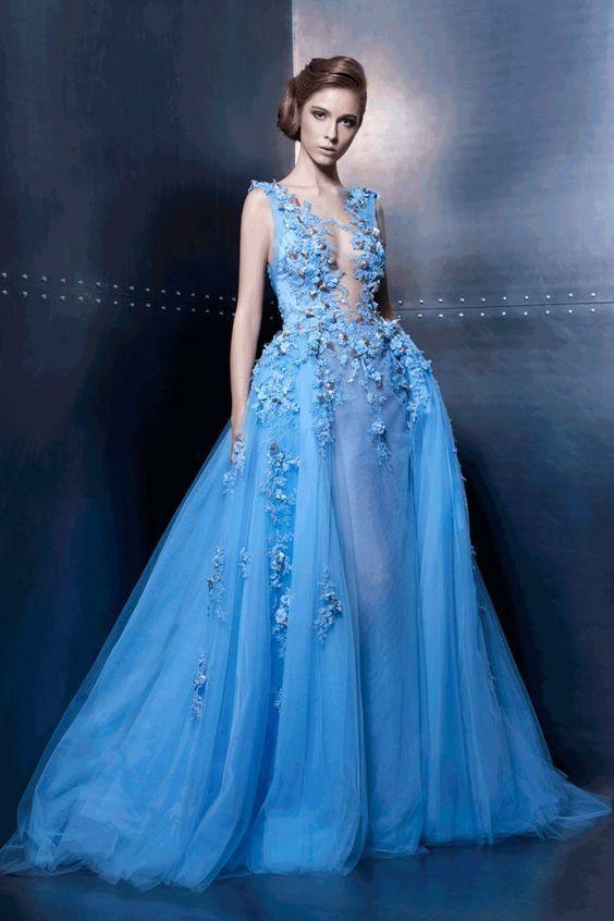 Sleeveless Plunging Floral Appliqués A-line Floor-Length Prom Dress, Evening