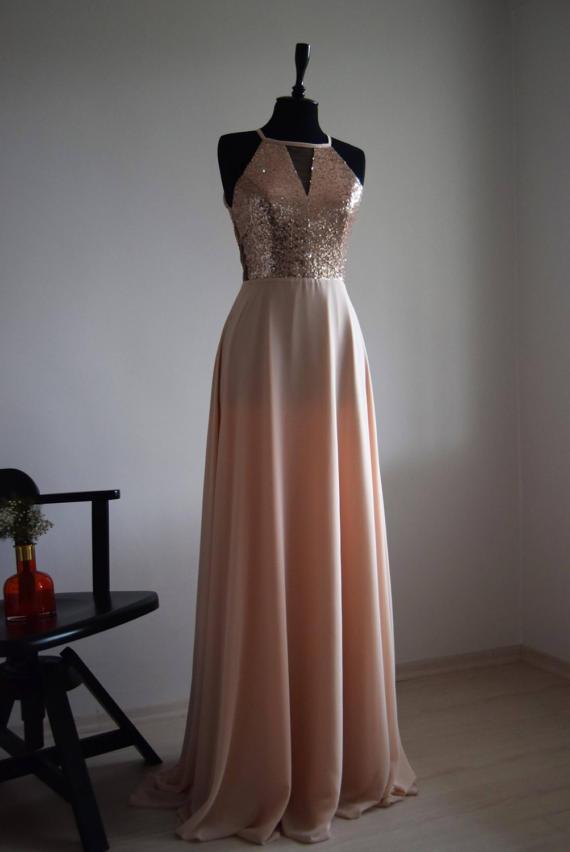 Halter Cutout Sequined A-line Chiffon Floor-Length Prom Dress, Evening Dress