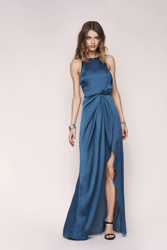 new halter blue evening dress ,long prom dress