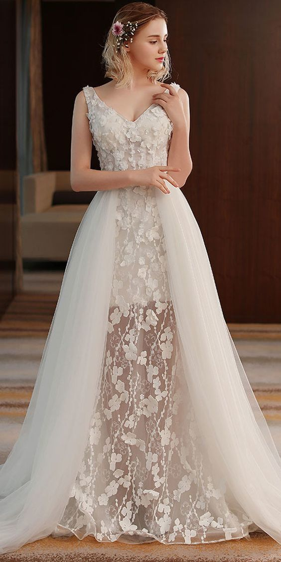 See Through Wedding Dresses.Alluring Tulle Lace V Neck Neckline A Line See Through Wedding Dress With 3d Flowers Beadings