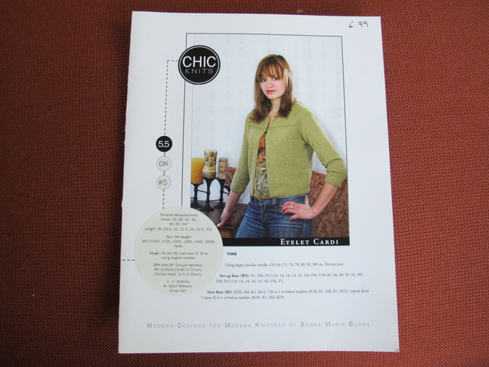 Chic Knits Eyelet Cardi pattern / Bonne Marie Burns / Woman's cardigan knitting