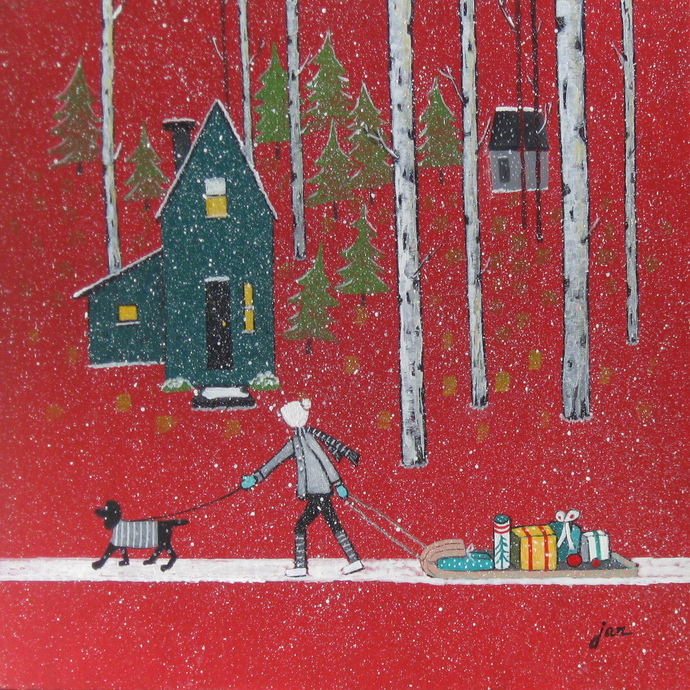 SOLD - Santa's Helper - 12x12 acrylic on board