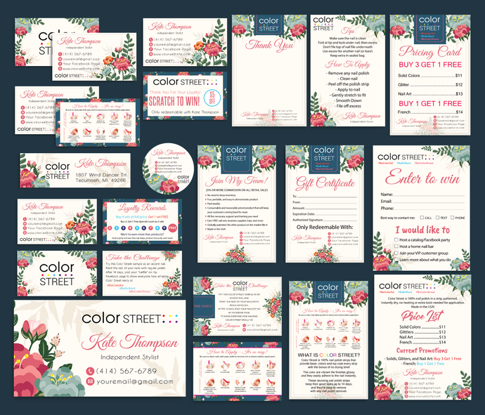 Color Street Marketing Kit, Personalized Color Street Cards, Printable Digital